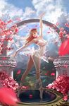 1girl arch arm_up ass backlighting ballerina ballet_slippers bangs bloodborne blue_eyes blue_sky blurry breasts cherry_blossoms cloud covered_nipples day depth_of_field doll_joints dress gears head_wreath leg_ribbon lipstick makeup medium_breasts mountain neck niuxiang88888 nose petals plain_doll pose red_lipstick reflection ribbon river see-through shoes short_dress sky smile solo sunlight thighs white_dress white_shoes wind