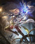 1girl arrow ass blonde_hair braid circlet copyright_name dragon's_shadow eudia_(serenity2200) frien_(dragon's_shadow) full_body glint glowing glowing_weapon hair_over_one_eye high_heels highres indoors lantern mineshaft official_art quiver rock rope solo standing standing_on_one_leg thighhighs weapon wheel