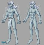 5_fingers abs angry barefoot blue_eyes blumagik bulge clothing corruption_of_champions djinn ear_piercing electricity flaccid front_view genie grey_skin hair hi_res humanoid jewelry lamp_djinn loincloth male muscular muscular_male navel off/on penis piercing pointy_ears portrait simple_background standing toes white_hair