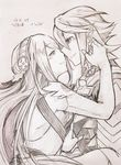 1boy 1girl armor cape elbow_gloves fire_emblem fire_emblem_if gloves graphite_(medium) hug long_hair male_my_unit_(fire_emblem_if) my_unit_(fire_emblem_if) shiratsu_(white-seaside) sketch smile traditional_media