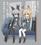 2girls animal_ears bag bangs black_bow black_bowtie black_legwear blonde_hair bow bowtie brown_eyes commentary_request drooling eyes_closed ezo_red_fox_(kemono_friends) fox_ears game_console gradient_hair hair_between_eyes holding jacket japari_symbol kemono_friends long_hair long_sleeves multicolored_hair multiple_girls open_mouth pantyhose playing_games pleated_skirt school_bag school_uniform silver_fox_(kemono_friends) silver_hair sitting sketch skirt sleeping socks symbol tansuke train_interior translation_request white_bow white_bowtie