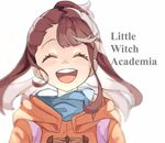 1girl ^_^ ^o^ bangs blue_scarf brown_hair eyes_closed face happy jacket kagari_atsuko little_witch_academia open_mouth round_teeth scarf sidelocks simple_background smile solo teeth text upper_body white_background zjz4s