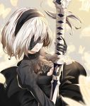 1girl black_dress black_gloves black_hairband blindfold breasts butterfly cleavage cleavage_cutout closed_mouth dress gloves hair_over_eyes hairband holding holding_sword holding_weapon juliet_sleeves katana lips long_sleeves makeup medium_breasts ming_(torga) mole mole_under_mouth nier_(series) nier_automata pink_lips puffy_sleeves revision ribbed_dress ribbon ribbon-trimmed_dress ribbon_trim short_hair silver_hair solo sword tassel turtleneck upper_body vambraces weapon white_hair yorha_no._2_type_b