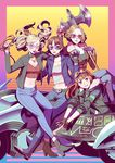 4girls aviator_sunglasses axe belt biker_clothes blonde_hair bomber_jacket boots brass_knuckles brown_hair bubble_blowing chewing_gum choker denim fingerless_gloves fur_trim gloves goggles goggles_on_head ground_vehicle heart-shaped_sunglasses highres jacket jeans jewelry joanna_(persona_5) leather leather_jacket midriff motor_vehicle motorcycle multiple_girls navel necklace necronomicon_(persona_5) niijima_makoto okumura_haru over_shoulder pants persona persona_5 radiostarkiller sakura_futaba sidecar sitting smile sunglasses takamaki_anne weapon weapon_over_shoulder whip