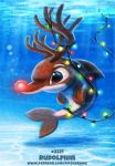 ambiguous_gender antlers black_eyes cetacean christmas christmas_lights cryptid-creations dolphin feral glowing_nose holidays horn humor mammal marine pun red_nose rudolph_the_red_nosed_reindeer solo underwater visual_pun water