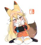 3: 3:< animal_ears black_footwear black_gloves black_shoes blazer blonde_hair bow closed_mouth controller extra_ears ezo_red_fox_(kemono_friends) flying_sweatdrops fox_ears fox_tail full_body fur-trimmed_sleeves fur_trim game_controller gloves gradient_hair gradient_legwear hair_between_eyes highres holding jacket kemono_friends loafers long_hair long_sleeves looking_down multicolored multicolored_clothes multicolored_hair multicolored_legwear necktie nintendo_switch orange_eyes orange_jacket playing_games pleated_skirt pocket scarf shoes sige_nb simple_background sitting skirt sweat tail tsurime two-tone_legwear very_long_hair wariza white_background white_bow white_legwear white_scarf white_skirt yellow_legwear yellow_necktie