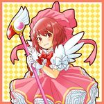 1girl blush card_captor_sakura cosplay dress fire_emblem fire_emblem_if fuuin_no_tsue gloves hat kinomoto_sakura kinomoto_sakura_(cosplay) looking_at_viewer magical_girl namesake pink_hair pink_hat red_hair sakura_(fire_emblem_if) sayoyonsayoyo short_hair solo wand white_gloves wings