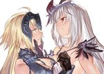 2girls ahoge angry bare_shoulders black_gloves blonde_hair breasts chains chin_grab chin_hold cleavage collarbone crossover dark_jeanne eye_contact fate/grand_order fate_(series) feathers female gloves granblue_fantasy hair_ornament headpiece highres holy_pumpkin jeanne_alter jeanne_d'arc_(granblue_fantasy) large_breasts long_hair looking_at_another multiple_girls namesake parted_lips red_eyes ruler_(fate/apocrypha) silver_hair smile strap_pull type-moon upper_body yellow_eyes yuri