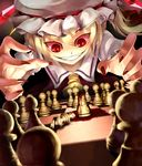 1girl blonde_hair blood board_game chess claws evil_grin evil_smile female flandre_scarlet ghostzxt grin hat ponytail red_eyes short_hair side_ponytail smile solo the_embodiment_of_scarlet_devil touhou vampire wings