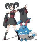 1girl arm_up armpits azumarill bangs black_dress black_hair black_legwear blank_eyes breasts brown_eyes clenched_hand collarbone creatures_(company) detached_sleeves dress female full_body furisode_girl_(pokemon) furisode_girl_kirika game_freak gen_2_pokemon grin hair_tie hand_on_hip happy highres kneehighs looking_at_viewer nintendo open_mouth orange_eyes outstretched_arm pointing pokemon pokemon_(creature) pokemon_(game) pokemon_xy red_footwear sandals sash shiny shiny_clothes shiny_hair simple_background sleeveless sleeveless_dress small_breasts smile standing swept_bangs teeth teru_zeta tied_hair twintails white_background