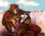 2008 animal_genitalia animal_penis anthro balls canine canine_penis cloud digital_media_(artwork) dog duo erection handjob java knot lying male male/male mammal necktie nude on_lap open_mouth penis sex sitting sitting_on_lap sky smile ursine