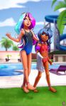 2018 camel_toe clothing cloud darkhazard detailed_background digital_media_(artwork) duo feet female friendship_is_magic hair hi_res horn humanoid long_hair multicolored_hair my_little_pony navel one-piece_swimsuit open_mouth outside poolside princess_celestia_(mlp) princess_luna_(mlp) swimsuit towel wings young
