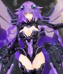 1girl absurdres blue_eyes braid breasts cleavage cleavage_cutout commentary_request covered_navel cowboy_shot hair_between_eyes hair_ornament highres hips large_breasts leotard long_hair looking_at_viewer mechanical_wings neptune_(series) outstretched_arm power_symbol purple_hair purple_heart serious shishin_(shishintei) skin_tight solo symbol-shaped_pupils thigh_gap thighhighs thighs twin_braids twintails very_long_hair wings