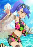 1girl aikatsu! aikatsu!_photo_on_stage!! aikatsu_stars! beach beach_house blue_hair bow bracelet cloud day earrings hibiscus_print highres jewelry kisaragi_tsubasa long_hair multicolored_hair navel necklace open_mouth outstretched_arms palm_tree ponytail sky smile sunglasses swimsuit towel tree water water_drop yellow_eyes