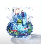 1girl aquarium arm_up bangs blue_kimono blue_nails crescent crying eyes_closed fish floral_print goldfish hair_ornament hakusai_(tiahszld) highres japanese_clothes kimono long_hair long_sleeves nail_polish obi original partially_submerged sash seaweed silver_hair sitting solo star tears water water_drop wide_sleeves yokozuwari