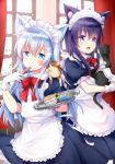2girls :d akatsuki_(kantai_collection) alternate_costume animal animal_ears apron blue_eyes blush bow bowtie can cat cat_ears cat_food curtains gloves hair_between_eyes hair_ornament hairclip hibiki_(kantai_collection) highres holding kantai_collection long_hair maid maid_apron maid_headdress motohara_moka multiple_girls open_mouth purple_eyes purple_hair red_neckwear short_sleeves silver_hair smile tray white_apron white_gloves