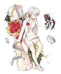 1boy bangs bouquet bow bridal_veil choker collarbone covered_eyes drone floating flower full_body gloves hair_flower hair_ornament jacket katan kneehighs leaf long_sleeves machinery male_focus nier_(series) nier_automata parted_lips pingo plant pod_(nier_automata) red_flower red_rose ribbon robot rose shoes short_hair shorts silver_hair simple_background smile sword tassel veil weapon weapon_on_back white_background white_blindfold white_bow white_choker white_gloves white_jacket white_legwear white_ribbon white_shoes white_shorts yorha_no._9_type_s