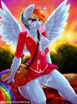 2015 anthro anthrofied blue_feathers blue_fur breasts bubble_gum clothing cum cum_in_pussy cum_inside cum_on_breasts cum_on_face dimwitdog equine feathered_wings feathers female friendship_is_magic fur hi_res mammal multicolored_tail my_little_pony nipples one_breast_out pegasus purse pussy rainbow_dash_(mlp) rainbow_tail skirt solo wings