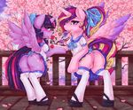 2016 blush butt candy clothed clothed_feral clothing cutie_mark detailed_background digital_media_(artwork) dimwitdog duo equine feathered_wings feathers female feral food friendship_is_magic hair horn legwear licking lollipop looking_at_viewer looking_back mammal multicolored_hair my_little_pony no_underwear outside princess_cadance_(mlp) purple_eyes pussy rear_view stockings thigh_highs tongue tongue_out tree twilight_sparkle_(mlp) upskirt winged_unicorn wings