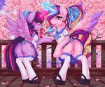 2016 blush butt candy clothed clothed_feral clothing cutie_mark detailed_background digital_media_(artwork) dimwitdog duo equine feathered_wings feathers female feral food friendship_is_magic hair horn legwear licking lollipop looking_at_viewer looking_back magic_user mammal multicolored_hair my_little_pony no_underwear outside princess_cadance_(mlp) purple_eyes pussy rear_view stockings thigh_highs tongue tongue_out tree twilight_sparkle_(mlp) upskirt winged_unicorn wings