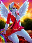 2015 anthro anthrofied blue_feathers blue_fur breasts bubble_gum clothed clothing dimwitdog equine feathered_wings feathers female friendship_is_magic fur hair hi_res mammal multicolored_hair multicolored_tail my_little_pony nipples one_breast_out pegasus purse pussy rainbow_dash_(mlp) rainbow_hair rainbow_tail skimpy skirt solo wings