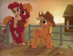 apple_bloom_(mlp) applejack_(mlp) big_macintosh_(mlp) blonde_hair brother cowboy_hat cutie_mark earth_pony equine eyebrows eyelashes female feral freckles friendship_is_magic fur green_eyes group gsphere hair hat hi_res horse mammal my_little_pony pony ranch red_hair ribbons sibling sister sisters sunset young