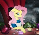 alice_(alice_in_wonderland) alice_in_wonderland beverage blue_eyes chair clothed clothing cup dress earth_pony equine female feral fluttershy_(mlp) friendship_is_magic hair hair_bow hair_ribbon horse long_hair mammal my_little_pony pink_hair pony ribbons sitting solo spoon tea tea_cup teapot vinicius040598 yellow_body