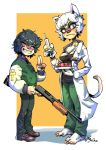 black_hair cat doctor feline gun hair human mammal piyotycho ranged_weapon shotgun weapon white_hair