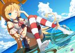 1girl absurdly_long_hair accident andrea_doria_(zhan_jian_shao_nyu) arm_support ball bare_shoulders beachball belt blonde_hair blue_eyes blue_skirt blush choker cloud crop_top day dutch_angle feet food hair_ribbon ice_cream italian_flag long_hair low_twintails muq ocean one_eye_closed partially_submerged pleated_skirt red_legwear ribbon rubbing_eyes sitting skirt sky solo striped striped_legwear thighhighs twintails umbrella very_long_hair water wet wet_clothes white_legwear zhan_jian_shao_nyu