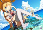 1girl absurdly_long_hair accident andrea_doria_(zhan_jian_shao_nyu) arm_support ball bare_shoulders beachball belt blonde_hair blue_eyes blue_skirt blush choker cloud crop_top day dutch_angle feet food hair_ribbon ice_cream italian_flag long_hair low_twintails muq ocean one_eye_closed partially_submerged pleated_skirt ribbon rubbing_eyes sitting skirt sky solo thighhighs twintails umbrella very_long_hair water wet wet_clothes white_legwear zhan_jian_shao_nyu