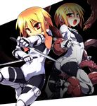 1girl armor ass blonde_hair blush bodysuit boots brown_eyes cameltoe dual_wielding erect_nipples fighting_stance flat_chest frottage gauntlets imminent_rape knife leg_lift leotard open_mouth original restrained short_hair slime solo standing standing_on_one_leg tentacle tomoshibi_hidekazu white_leotard