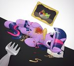 2012 equine female feral food friendship_is_magic hair horn looking_at_viewer lying mammal multicolored_hair my_little_pony object_in_mouth on_side pillow purple_eyes solo surgicalarts twilight_sparkle_(mlp) unicorn