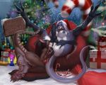 3_toes 5_fingers anthro anthro_on_anthro anus blue_fur blue_hair breasts brown_fur brown_hair candy candy_cane christmas christmas_present clitoris cum cumshot cunnilingus dildo duo ejaculation english_text erection eyes_closed female food fur hair hand_on_thigh hat herm herm/female holidays improvised_sex_toy intersex intersex/female kangaroo knot kyra_(greyshores) licking licking_lips long_hair mammal marsupial masturbation multi_anus multicolored_hair nipples nude one_eye_closed oral orgasm pawpads penile_masturbation penis pussy santa_hat sex sex_toy sign spread_legs spreading taira_(totesfleisch8) text toes tongue tongue_out totesfleisch8 toying_partner two_tone_hair vaginal white_fur white_hair