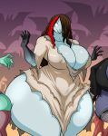 2016 big_breasts breasts busty_bird cleavage clothed clothing erect_nipples female ghost group halloween hi_res holidays huge_breasts humanoid jaeh nipple_bulge nipples not_furry spirit undead zombie
