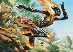 ashling blue_sky bracelet breasts clothed clothing day dress elemental female fire fire_elemental grass hi_res jewelry magic_the_gathering nature not_furry official_art outside plant rock running shrub sky solo tattoo tree wayne_reynolds wizards_of_the_coast