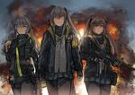 3girls absurdres brown_hair commentary commentary_request eotech explosion girls_frontline green_eyes grey_hair gun h&k_ump hair_ornament hairclip heckler_&_koch highres ina_(inadiary) jacket long_hair multiple_girls orange_eyes pantyhose red_eyes scar scar_across_eye side_ponytail skirt smile submachine_gun trigger_discipline twintails ump40_(girls_frontline) ump45_(girls_frontline) ump9_(girls_frontline) walkie-talkie weapon