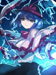 1girl banned_artist black_hat black_skirt blue_hair bow capelet closed_mouth cowboy_shot frills hat hat_bow lightning long_sleeves looking_at_viewer nagae_iku pink_bow poko_(mammypoko) red_eyes shawl short_hair skirt smile solo touhou