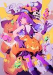 1girl bad_id bad_twitter_id candy closed_mouth eyebrows_visible_through_hair feet_out_of_frame food ghost gloves hand_up hat highres jack-o'-lantern lee_hyeseung long_hair looking_at_viewer original pantyhose pink_legwear pumpkin purple_gloves purple_hair purple_hat red_eyes skull smile solo witch_hat