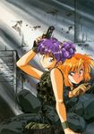 2girls highres multiple_girls orange_hair purple_hair urushihara_satoshi