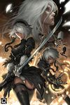 1boy 2girls black_clothes black_gloves black_legwear blindfold_removed boots gloves hair_over_one_eye kuroi-tsuki leotard_under_clothes magic_circle multiple_girls nier_(series) nier_automata pod_(nier_automata) silver_hair sword thigh_boots thighhighs weapon yorha_no._2_type_b yorha_no._9_type_s yorha_type_a_no._2