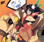 2girls ass bigdead93 black_hair blazblue breasts cleavage large_breasts litchi_faye_ling long_hair multiple_girls spanked spanking tagme taokaka