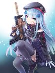 1girl artist_name assault_rifle bangs beret black_skirt blue_hair blue_legwear blush detached_sleeves facial_mark girls_frontline gloves green_eyes gun hand_up hat heckler_&_koch highres hk416 hk416_(girls_frontline) holding holding_gun holding_weapon knee_up long_hair looking_at_viewer military military_uniform parted_lips plaid plaid_skirt pleated_skirt rifle sidelocks signature sitting skirt solo star teardrop thighhighs uniform weapon white_gloves zenyu