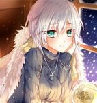 1girl anastasia_(idolmaster) black_sweater bow breasts chin_rest christmas_tree cross cross_necklace earrings eyebrows_visible_throug_hair green_eyes hair_bow idolmaster idolmaster_cinderella_girls indoors jewelry looking_at_viewer medium_breasts necklace raimu_(yuzu-raimu) short_hair silver_hair smile snow snowing solo sweater upper_body window