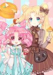 bishoujo_senshi_sailor_moon blonde_hair blue_bow blue_dress blue_eyes bow brown_bow brown_dress chibi_usa cowboy_shot crescent crescent_hair_ornament double_bun dress flower food fork hair_bow hair_flower hair_ornament holding holding_fork holding_spoon ice_cream lolita_fashion long_hair looking_at_viewer maodouzi multicolored multicolored_background multiple_girls pantyhose pie pink_eyes pink_hair short_hair smile spoon striped striped_background sweet_lolita tsukino_usagi twintails