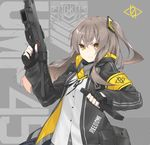 1girl bandanna black_gloves crossed_bangs dress_shirt fhang finger_on_trigger fingerless_gloves floating_hair girls_frontline gloves grey_hair gun h&k_ump heckler_&_koch holding holding_gun holding_weapon jacket long_hair looking_at_viewer magazine_(weapon) one_side_up open_clothes open_jacket parted_lips reloading scar scar_across_eye shirt sidelocks solo submachine_gun ump45_(girls_frontline) upper_body weapon yellow_eyes