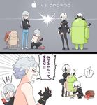 1girl 3boys adam_(nier_automata) android_(mascot) android_(os) angry apple apple_inc. basket black_hairband blindfold cellphone eve_(nier_automata) feather-trimmed_sleeves food fruit glasses hairband iphone long_hair machine_(nier) multiple_boys nier_(series) nier_automata paint paintbrush phone silver_hair smartphone tagme yorha_no._2_type_b yorha_no._9_type_s