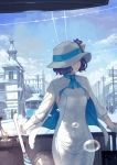 1girl arm_support blue_sky breasts brown_hair bubble building closed_mouth cloud cloudy_sky commentary_request day dress flower gloves hat hat_flower highres jacket long_sleeves looking_away looking_to_the_side outdoors purple_flower short_hair silhouette sky small_breasts solo_focus suntory suntory_nomu virtual_youtuber white_dress white_gloves white_hat white_jacket yasukura_(shibu11)