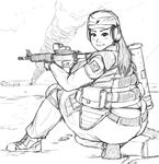 1girl ass assault_rifle body_armor fat foxfire gun headset highres kneeling looking_at_viewer looking_back military monochrome obese original rifle solo thick_thighs thighs thong weapon