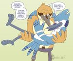 anthro anti_dev avian bird black_tongue blue_body blue_eyes blue_jay blush bottomless brown_body brown_eyes cartoon_network chest_tuft clothed clothing corvid dialogue digital_media_(artwork) duo english_text feathers fur green_background grin john_(regular_show) legs_up male male/male mordecai_(regular_show) open_mouth oriole pants prosthetic_leg pubes regular_show simple_background smile standing teeth text tongue topless tuft white_body