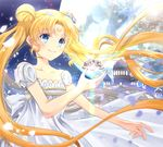 bare_shoulders bishoujo_senshi_sailor_moon blonde_hair blue_eyes bow castle closed_mouth crescent double_bun dress facial_mark flower forehead_mark hair_flower hair_ornament iroha_(shiki) long_hair maboroshi_no_ginzuishou princess_serenity rose smile solo tsukino_usagi twintails white_bow white_dress white_flower white_rose